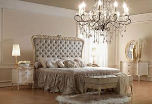 Artemisia 4000 bed, Classical style bed, with handcrafted carvings, padded tufted headboard