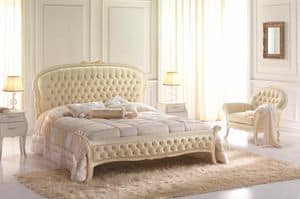 Beatrice, Double bed in neoclassical style, quilted headboard and footboard