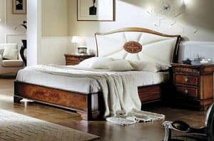 C 704, Classic mahogany bed with upholstered headboard