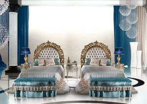 Calipso Bedroom, Classic luxury single bed with upholstered headboard