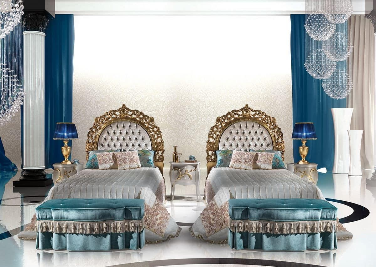 Classic luxury single bed with upholstered headboard for Calipso singles