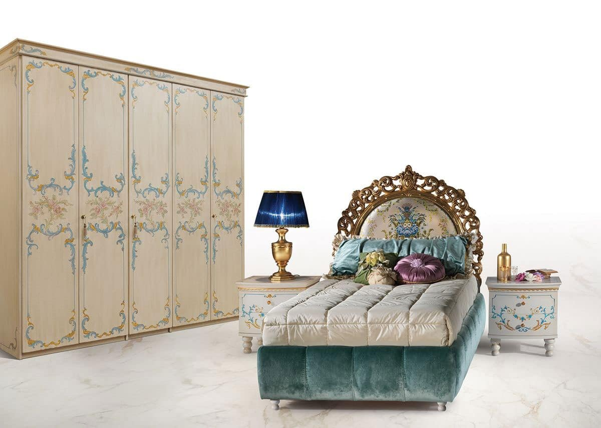 Single bed in luxury classic style upholstered headboard for Calipso singles