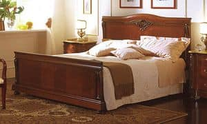 Canova bed, Bed in walnut, inlaid in classic luxury style