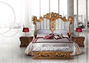 F973 Bed, Luxury wooden bed decorated in the style of Louis XV