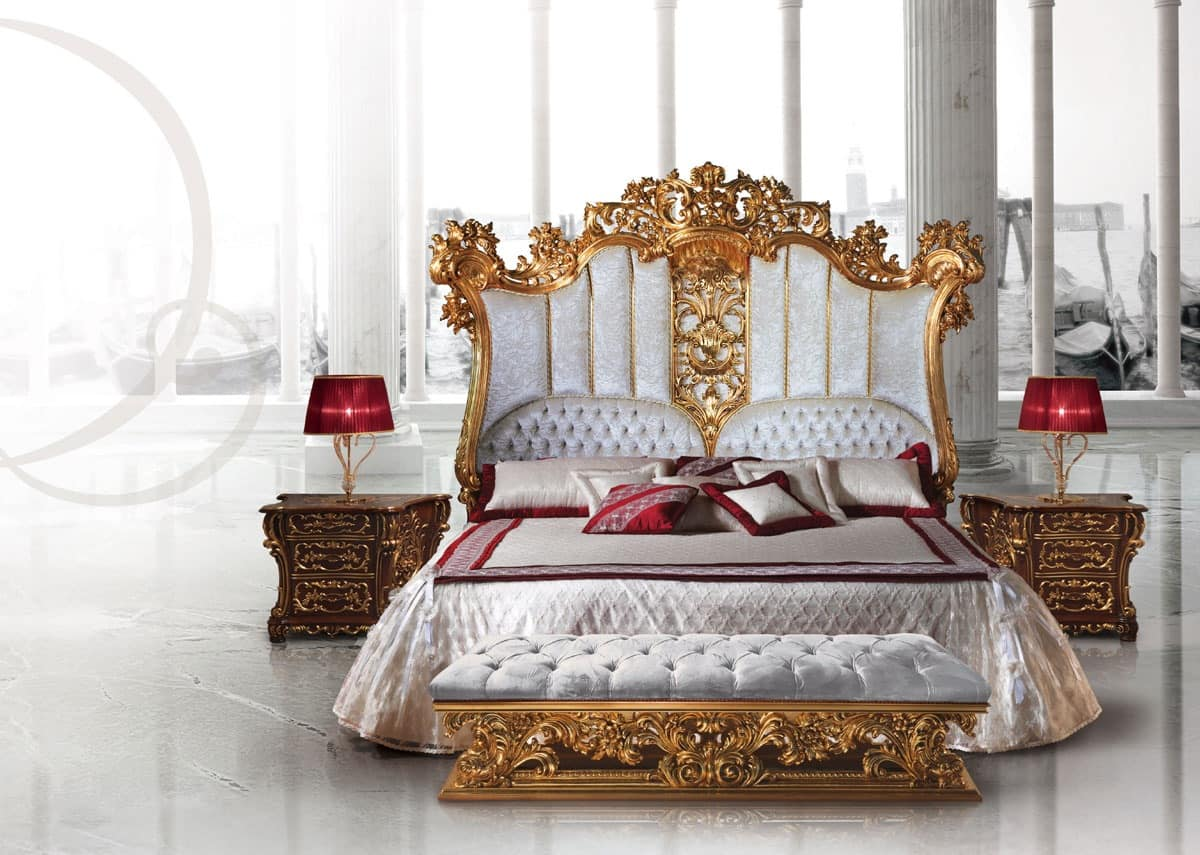 Luxury wooden bed decorated in the style of Louis XV ...
