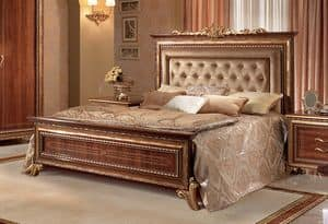 Giotto upholstered bed, Walnut bed with headboard tufted, royal style