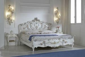 Jennifer, Double bed, carved wood, made in Italy