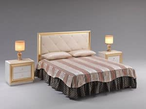 Jolie bed, Bed with upholstered headboard, upholstered in faux leather, for prestigious rooms
