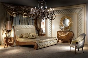 LE19 Vanity, Bed in solid wood, gold leaf decorations, quilted