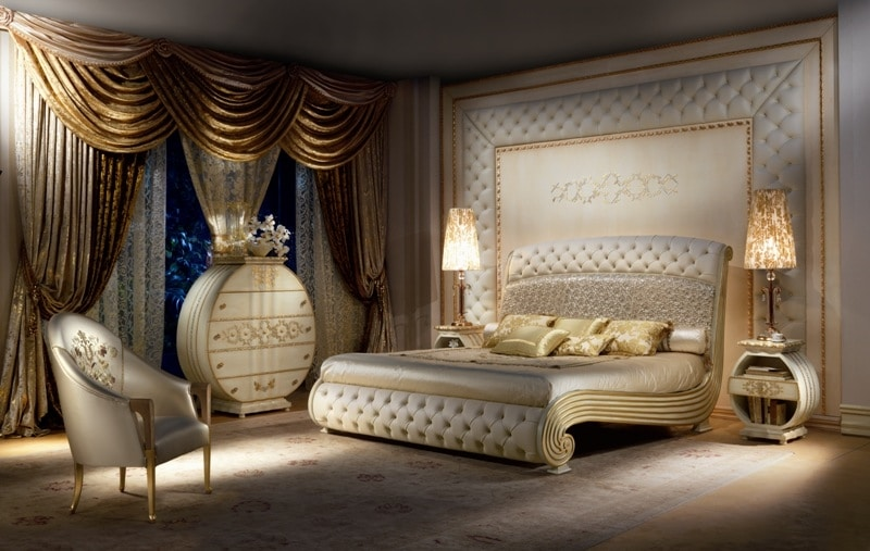 Luxurious lacquered bed quilted headboard and footboard for Luxury bedroom furniture