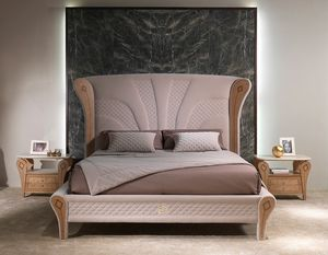 LE28 Charme, Luxurious bed with inlaid wood decorations