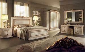 Leonardo bedroom 2, Classic furniture for bedrooms, with double bed, wardrobe 4 doors, dressing table and bedside drawers 2