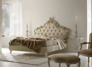 Luana leather, Classic bed with leather headboard