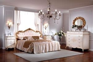 Picture of OLIMPIA B / Double bed with upholstered headboard, wooden bed with decorated headboard