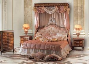 Paradise Bedroom, Double bed with upholstered tufted headboard