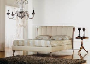 Ikarus bed, Luxury classic bed, wood insert with decap� polishing