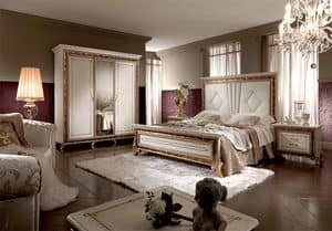 Raffaello bed, Luxurious bed, with padded or wooden headboard, painted with shiny pearl effect
