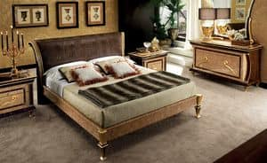 Rossini upholstered bed, Bed with headboard upholstered in faux leather crocodile