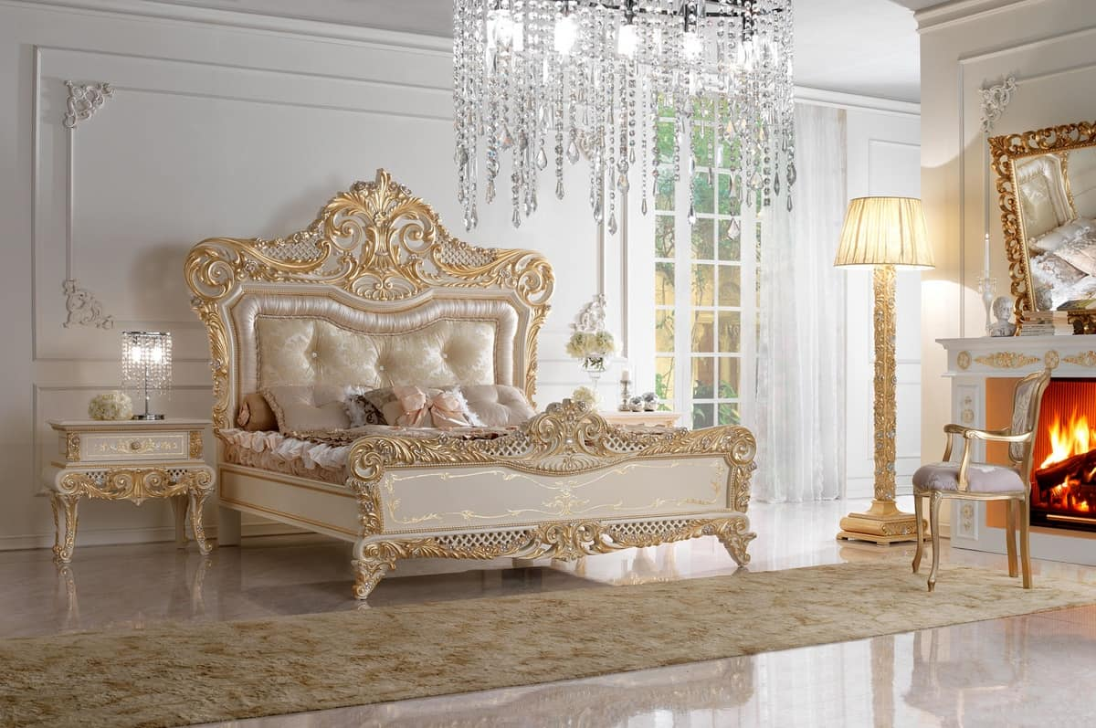Double bed in carved wood and upholstered headboard idfdesign - Contemporary canopy bed for a royal room ...