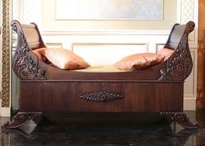 sleigh bed, Sleigh bed, with hand-made carvings