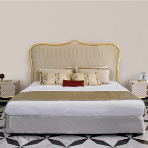 Stresa ST126, Bed with padded headboard and finished in gold leaf
