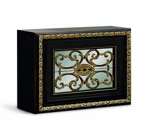 4076, Elegant black lacquered bedside table