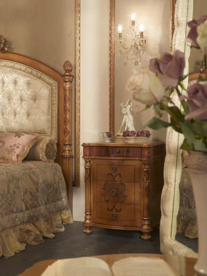 6403, Nightstand with 4 drawers, for classic bedrooms