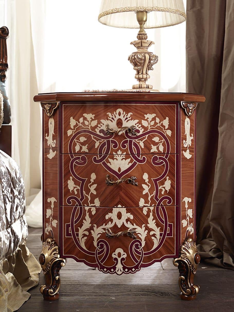 7603, 3 drawers nightstand, for bedrooms in classic style