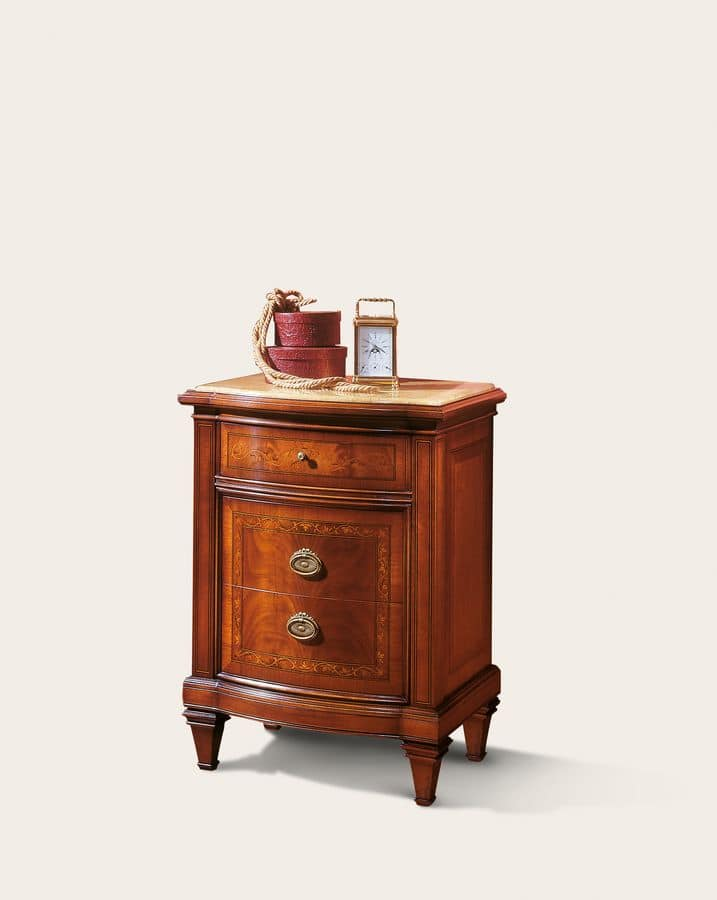 Art. 101 Bedside table, Bedside table in walnut with 3 drawers