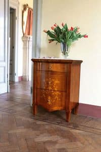 Art. 108 Bedside table, Bedside table in walnut with 3 drawers