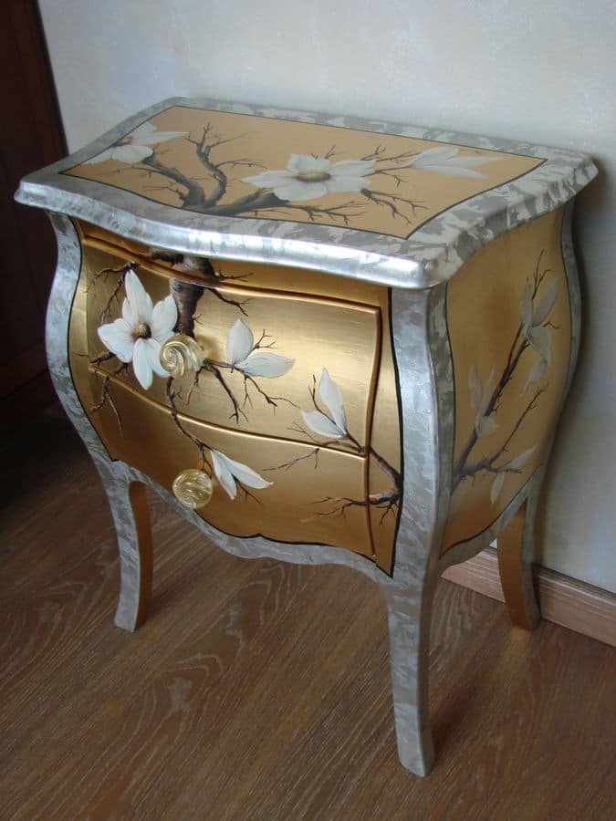Art. 1407/Z, Classic luxury bedside table for bedroom, bedside table silver and gold for hotel