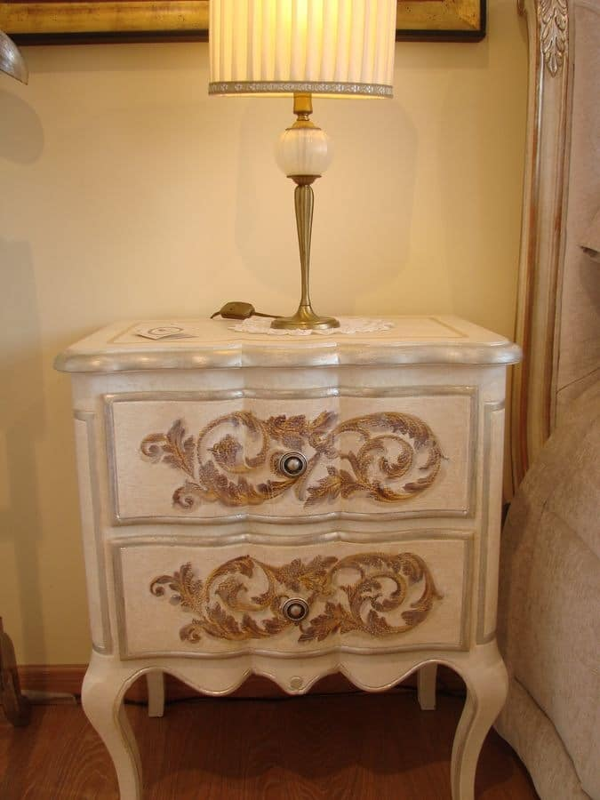 Art. 300 Expo', Bedside lacquered tempera, classically luxurious
