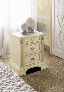 Art. 44529 Puccini, Wooden bedside table with three drawers, for bedrooms