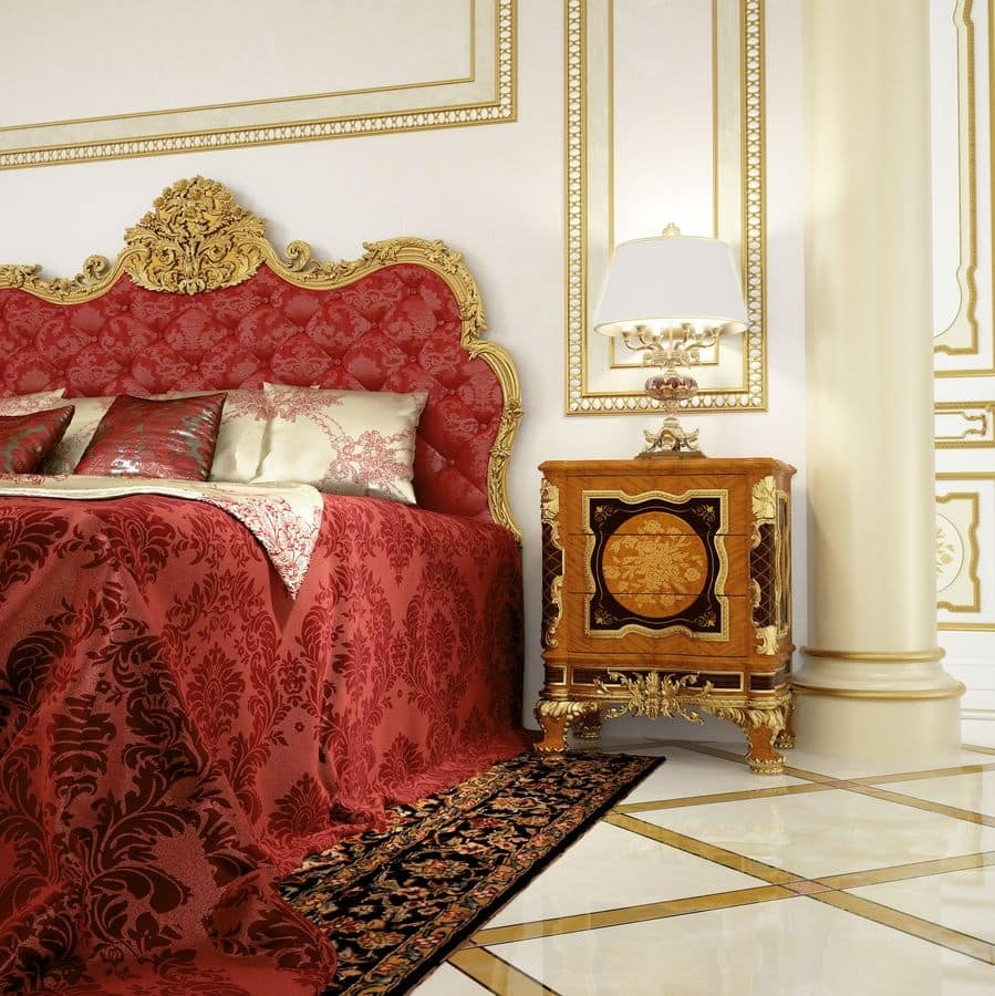 Art. 519, Luxury wooden bedside table with gold leaf finishes