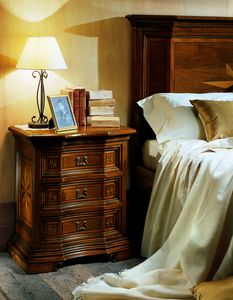 Art. 651 nightstand, Classic style bedside table, with decorative inlays
