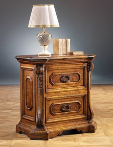 Art. 662 nightstand, Bedside table with decorations in roots