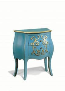 Art. 717, Wooden nightstand with curved lines, in classic style