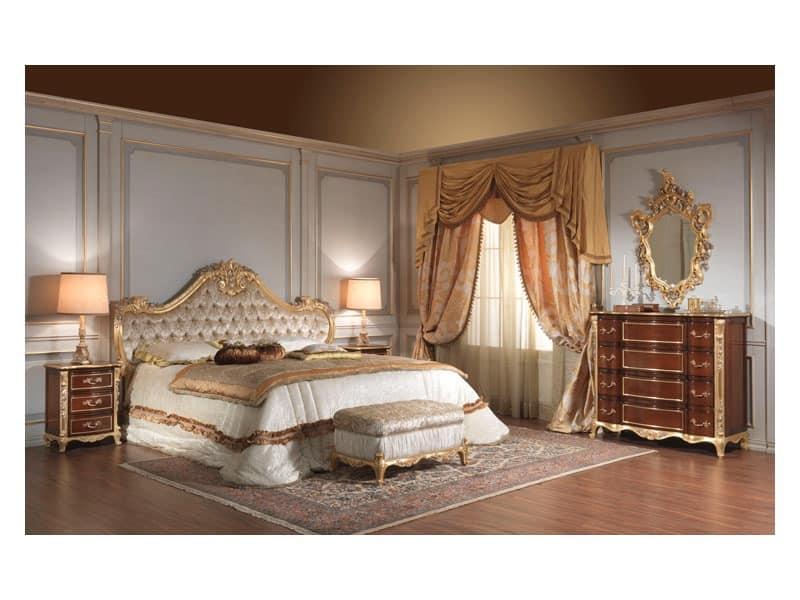 Art. 951 Bedside Table, Bedside tables in cherry, silver leaf details, for hotel rooms