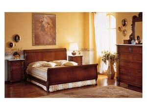 Art. 973 bedside table '800 Siciliano, Wooden nightstands, with marble top, for luxury Hotels