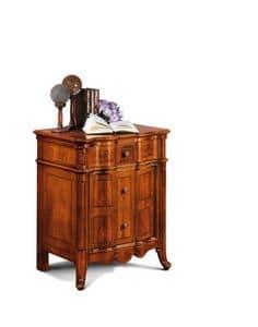 Art. 99/R Comodino, Bedside 3 drawer walnut, classic luxury style