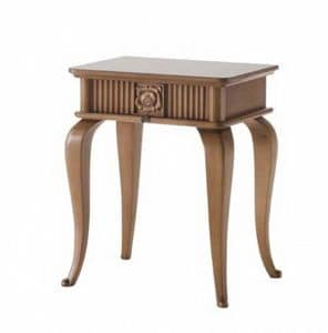 Art. CA723, Wooden bedside table, classic style, with drawer