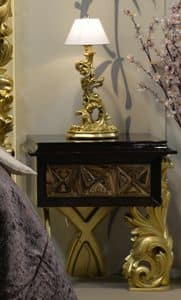 Art. NC001CD, Bedside table with carvings, gold leaf finish