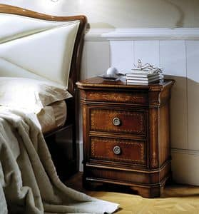 C 701, Bedside table in mahogany inlaid, with top opening