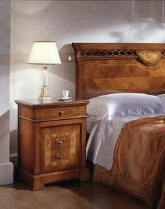 D 701, Carved nightstand, in cherry, elm with veneered