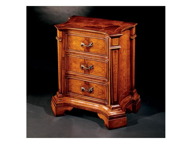 Ferrara bedside table 705 C, Bedside table with precious inlays