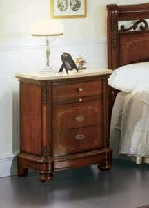 Gardenia bedside table, Bedside table with curved front, in luxurious classical style