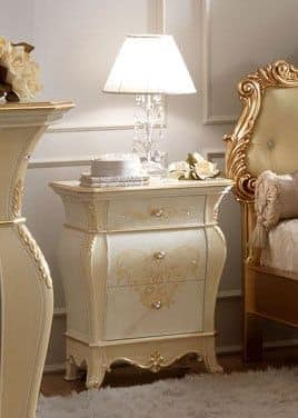 Giotto Bedside Table, Classic bedside table with three drawers, floral decorations