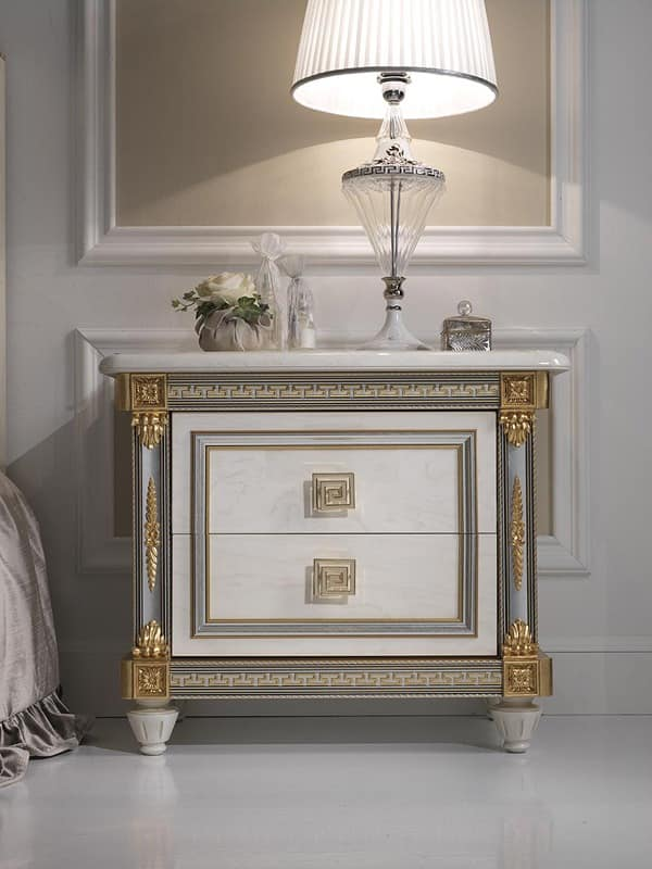 Liberty nightstand, Luxury nightstand in wood, with a classical style, for hotels and prestigious rooms