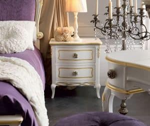 Live 5301 nightstand, Wooden bedside table, decorated by hand, with a classic design
