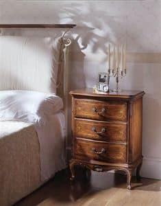 M 707, Classic bedside table in carved walnut, with 3 drawers